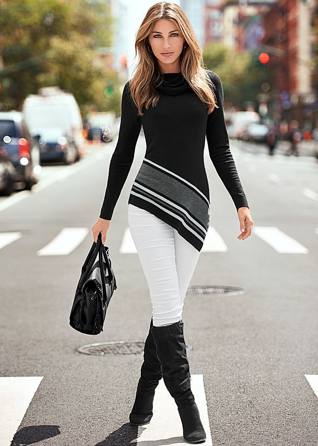 COLOR SKINNY JEANS, ASYMMETRICAL HEM SWEATER, BLOCK HEEL BOOT