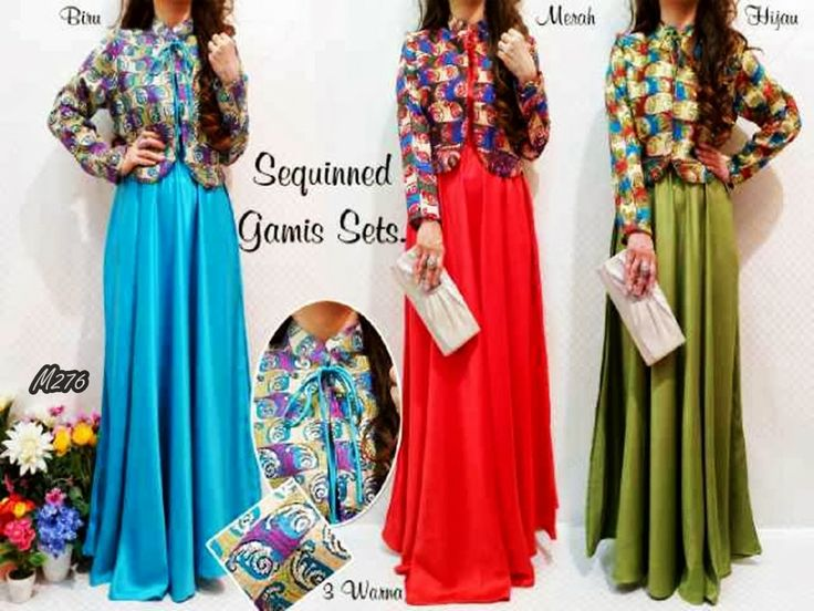 Kode Baju : M276 Harga : 255,000 IDR Model Pakaian : Sequinned Gamis Sets Jenis Bahan : Satin Velvet + Blazer Sari India (No-Inner) Ukuran : (Free Size / Fit to L) --- Contact : Deni - 083815838155/768FF8FA