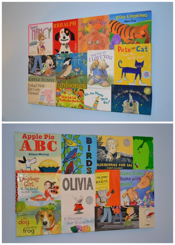"""Directions: """"I took dozens of the paper book covers and laid them out on two 24x36"""" canvases, spray mounted them to adhere, and coated them 3 times with Mod Podge Gloss Finish."""": Psa Stamp, Stamp Camp, Artworks, Mod Podge, Kids Room, Tutorial, Book Covers"""