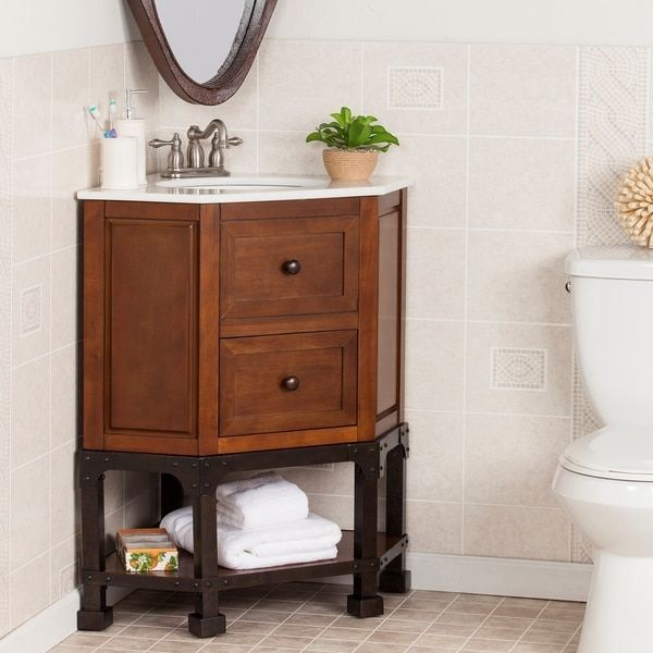 Harper Blvd Carmen Marble Top Corner Bath Vanity Sink Os1787tb Brown Size Single Vanities Keep Your Small Bathroom