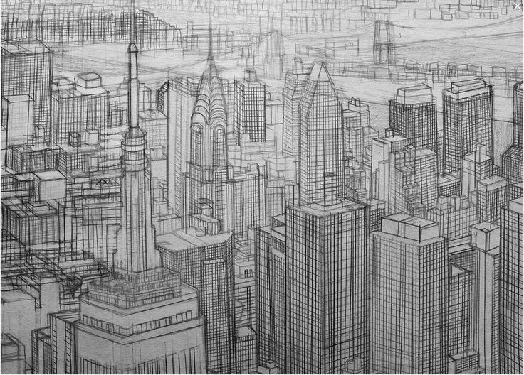 Orhan Guven, Line_New York, 2013. Graphite and ink on paper