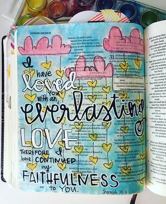 Bible Journaling by @bowed.anchor.journaling | Jeremiah 31:3
