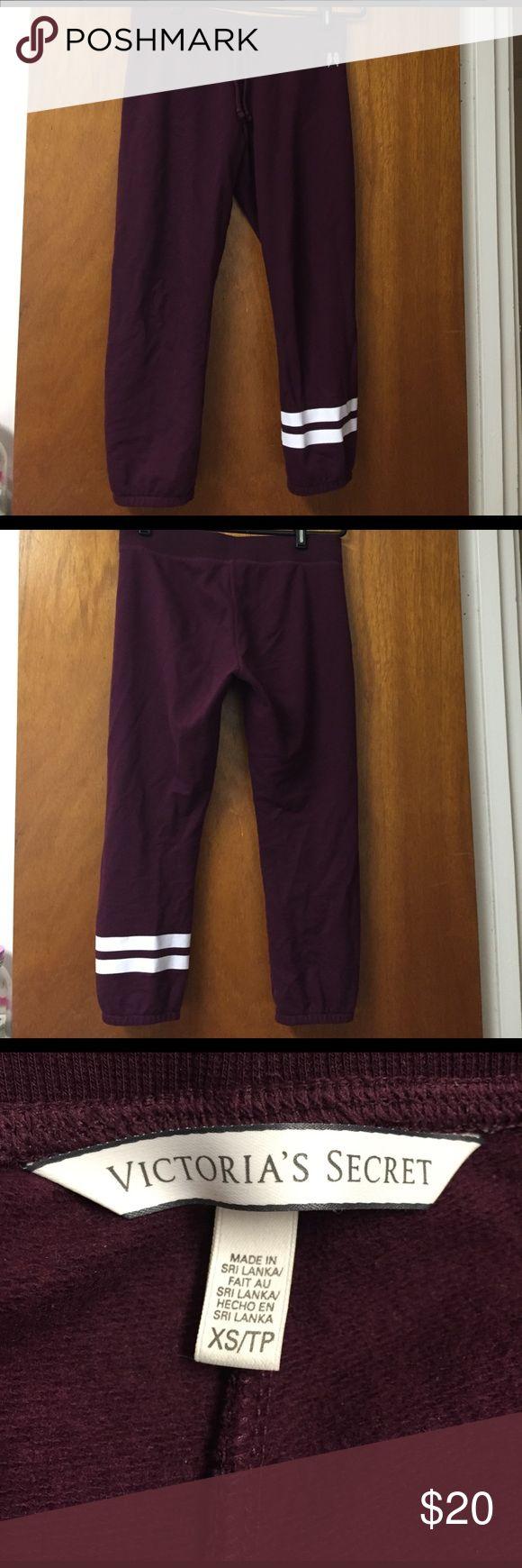 Victoria's Secret Gym Capri Pants XS Wine Stripe VIctoria's Secret Gym Capri Pant size XS.  Mint condition.  Wine color with stripe. Victoria's Secret Pants Capris