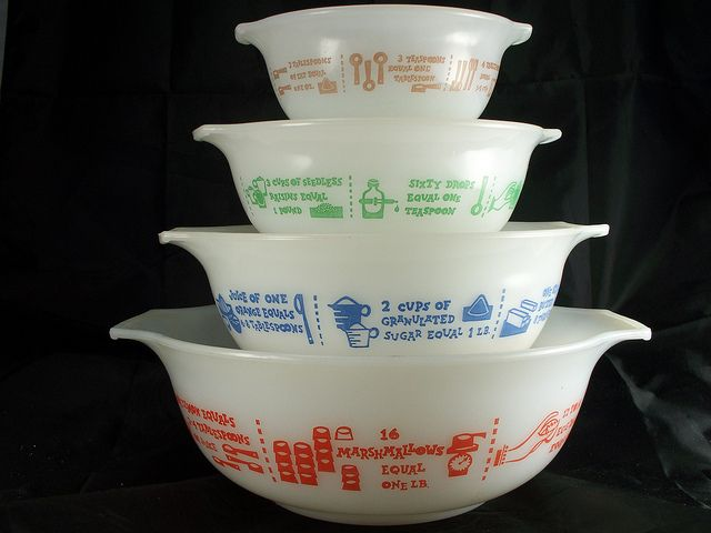 vintage Glasbake mixing bowls ~ I wish I could see all of these helpful hints.  How many drops in a teaspoon, like there's not a teaspoon to be found in the house but of course you have a dropper!  LOL  And oh how many times I've wondered how many marshmallows in a pound!!!
