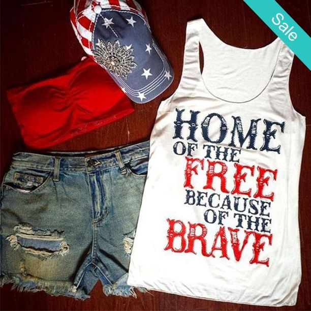Women's Home of the Free Because of the Brave 4th of July Graphic Tank Top T-Shirt - SKU:5865047Material: Polyester Fit: Typically runs small especially around the chest; Ordering a larger size than usually is recommended Please allow 2-5 weeks for production/shipping time. - On Sale for $26.00 (was $38.00)