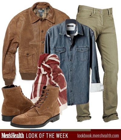 Men's Health #LookoftheWeek draws its inspiration from the great outdoors. Would YOU rock this rugged look?    Jeans: 7 for All Mankind  Shirt: Banana Republic  Jacket: Polo Ralph Lauren via Mr. Porter  Scarf: Paul Smith Shoes and Accessories via Mr. Porter  Boots: Fratelli Rossetti via Zappos.com
