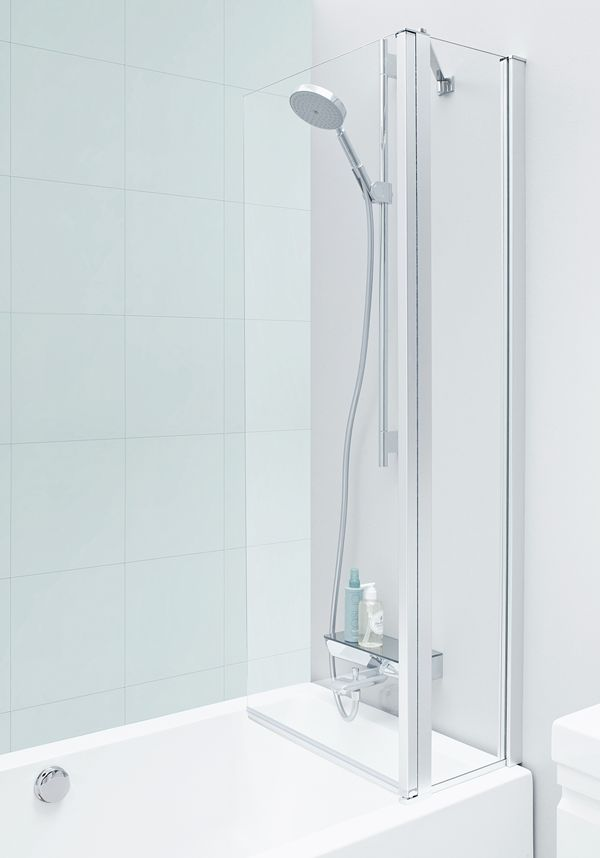 Our new functional screening for bathtubs where the shower screen closes inward against the tap when not in use. This leaves plenty of elbow room in front of the washbasin and mirror.