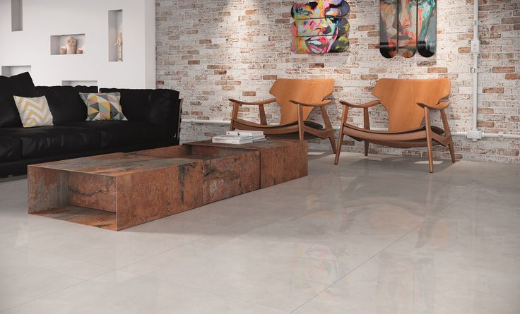 Revestimento Polido Cerâmica Portinari. Piso Coleção Loft. Parede Brick Pátina HD. Sala, loft, polido, brilhoso, cinza, tijolo, brick, pátina, aço corten.