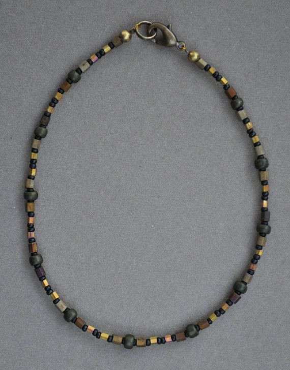 brown and olivine beaded anklet anklet beaded anklets