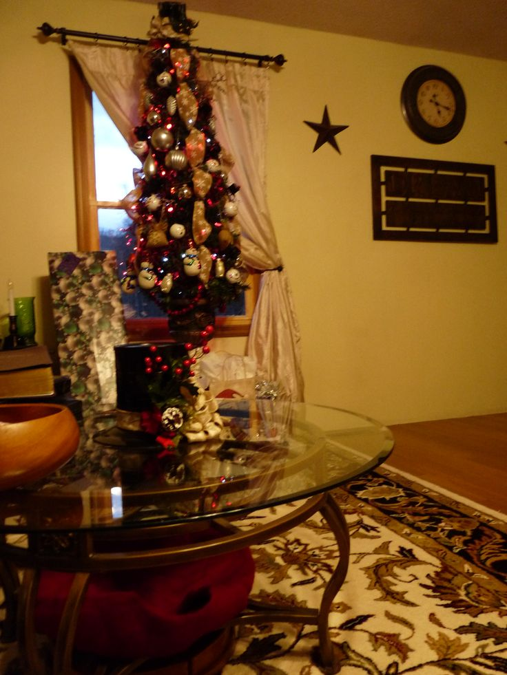 Homemade centerpiece and tree topper and ornaments for2017