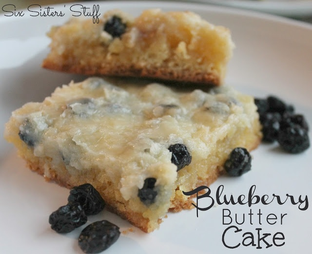 Blueberry Butter Cake .... from sixsistersstuff.com #cake #recipe #dessert