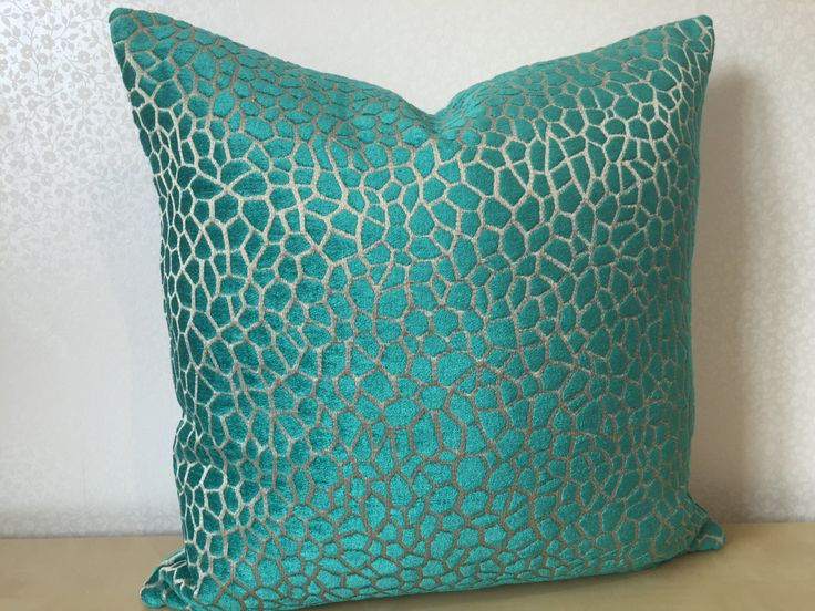 TEAL green blue chenille velvet SQUARE cushion cover in Matthew Williamson fabric designed for Osborne & Little. KAIRI in teal cushion cover by MoGirlDESIGNS on Etsy