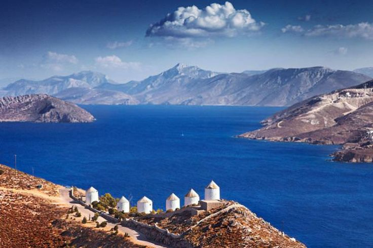 Coastal windmills on Leros, Greece