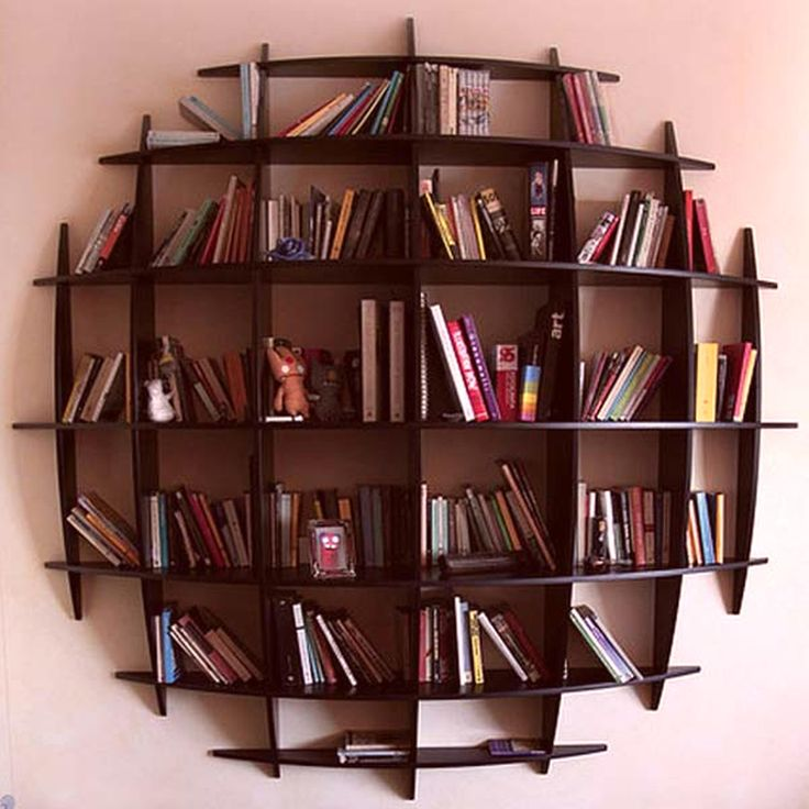 Decorations Photo Hanging Bookshelves. Awesome Black Wood Unique Design
