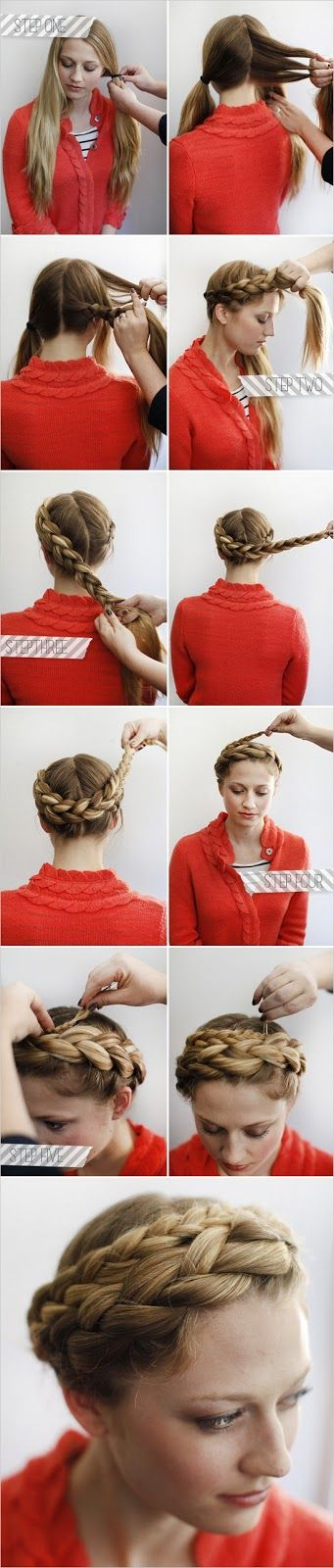 DIY Braid Halo - I wish I had the strength to grow my hair long enough to do things like this...  but my hair is VERY fine.  There is a TON of it but the longer it gets the worse/flatter it looks.