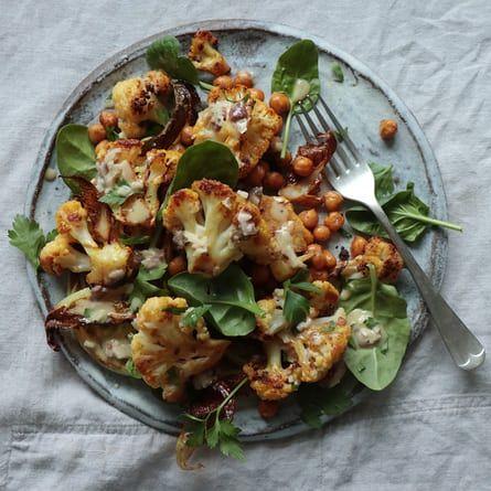 Roast cauliflower and chickpea salad.