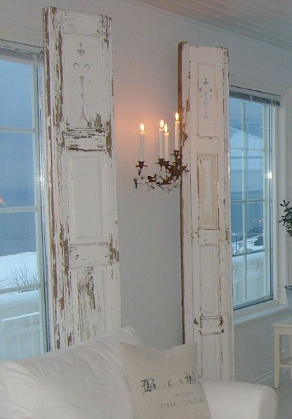 old doors instead of curtains, neat idea:)  YES!