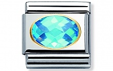 Nomination Stainless Steel Classic Charm with 18ct gold and Faceted Light Blue Cubic Zirconia