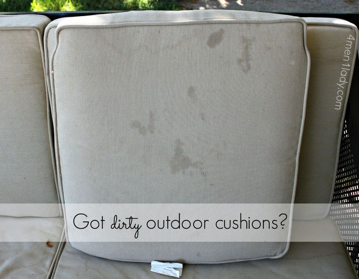 How to clean outdoor cushions tutorial.  1.5 tsp. dishwashing detergent soap and 1.5 tsp. Borax in 1 quart warm water.  I put my solution in an old, empty dish soap bottle.  4men1lady.com