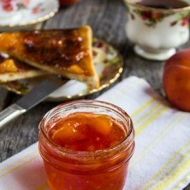 Peach-mango jam -- sweet, tart, and perfect slathered on toast.