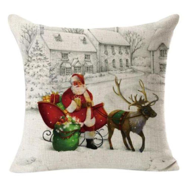 Christmas-Santa-Claus-Waist-Throw-Pillow-Case-Cushion-Cover-Home-Sofa-Bed-Decor