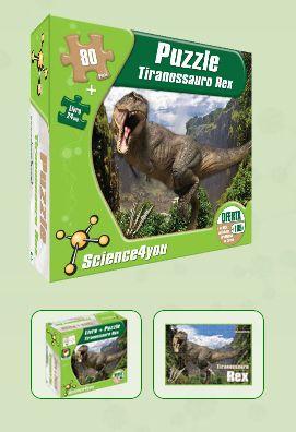 LIVRO + PUZZLE - TYRANNOSAURUS REX  Descobre: - Como e onde viviam os dinossauros - O que acontecia quando lutavam - Qual era a dieta do T-rex - As causas de extinção dos dinossauros