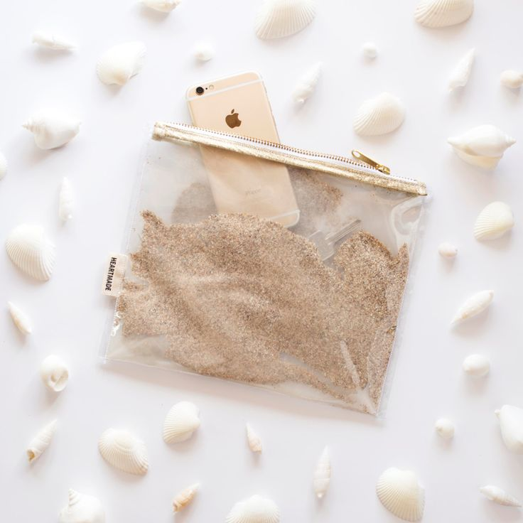 New in byheartmade on #Etsy: Sand Clear Clutch Funny Purse for Summer and Winter Transparent Handbag filled with Sand Golden details Zipper Pouch with Sand (38.00 EUR)