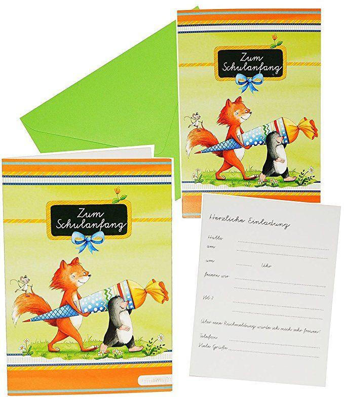 Jungen für Schulanfang Einladung Karte Umschlag Set Einladungskarten 10 tlg