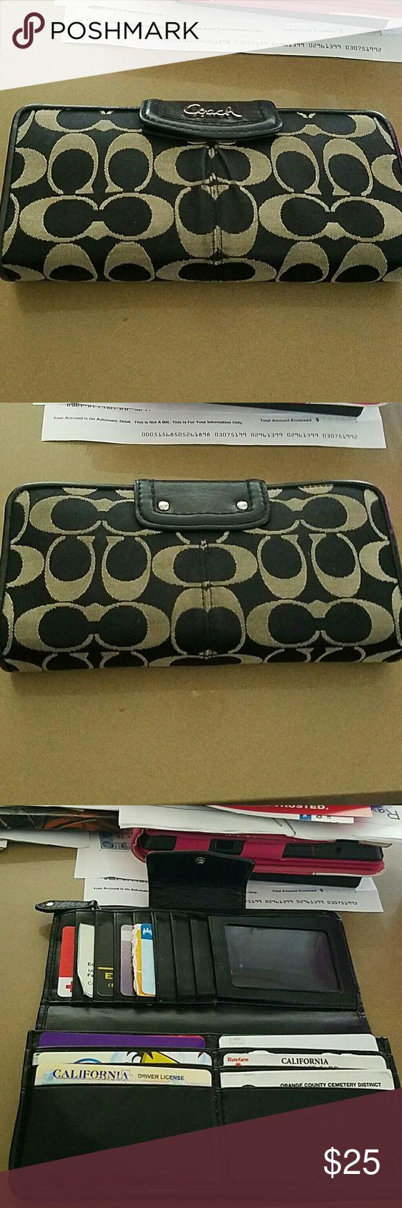 Black Coach Wallet Black coach wallet. It's been used but still looks great. Coach Bags Wallets