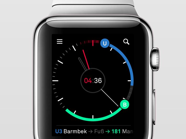 We're playing around with some smartwatch concepts for our public transportation app nextr. This is showing a connection of subway (blue) walk (grey) and Bus (teal). The number in the middle is counting down the seconds to the departure. Using the digital…