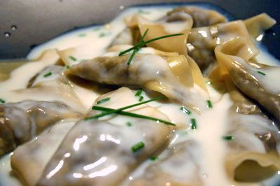 Mushroom Ravioli with Parmesan-Chive Sauce | Asparagus Ribbons with ...