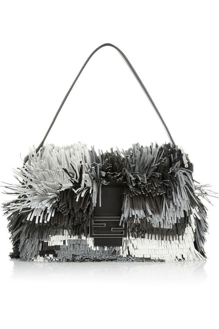 Fendi|Baguette fringed leather shoulder bag