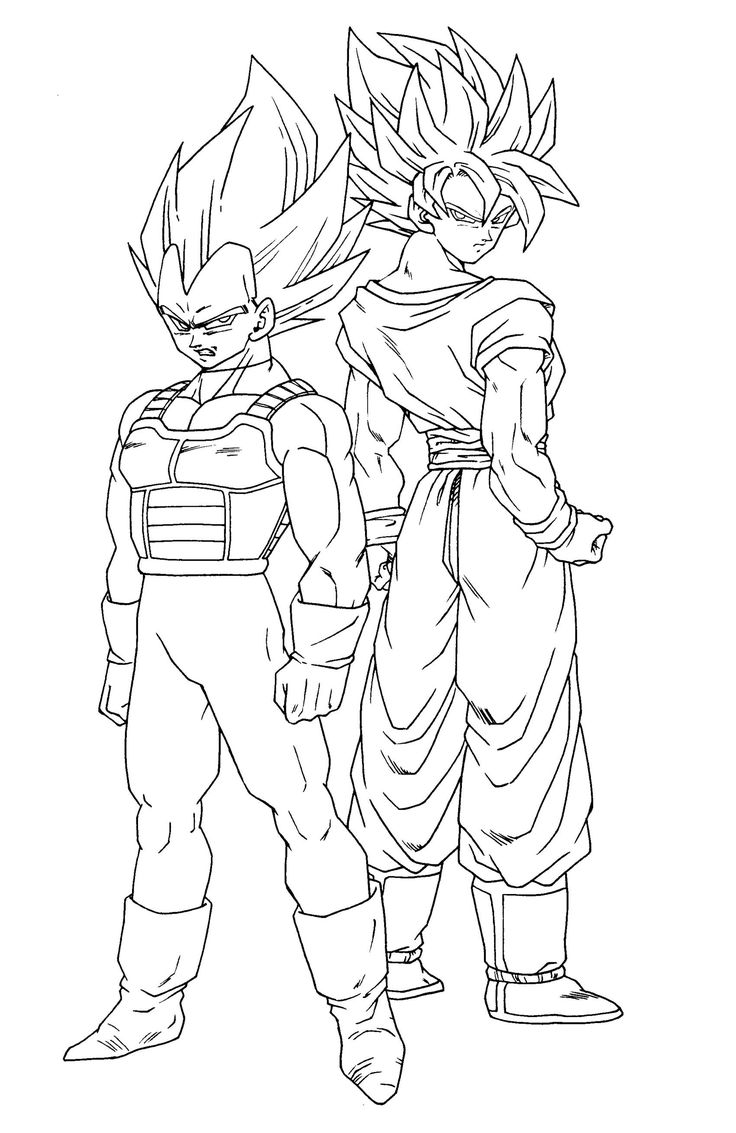 Mobile shimmer and shine coloring games coloring pages ausmalbilder - Goku And Vegeta Super Saiyan In Dragon Ball Z Printable Coloring Picture