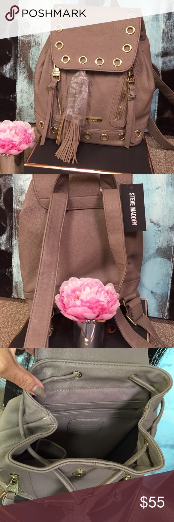 Steve Madden Backpack NWT faux leather backpack with functional zippers, gold hardware and long ties & tassels!  Super cute! ❌Trades. Price firm. Steve Madden Bags Backpacks