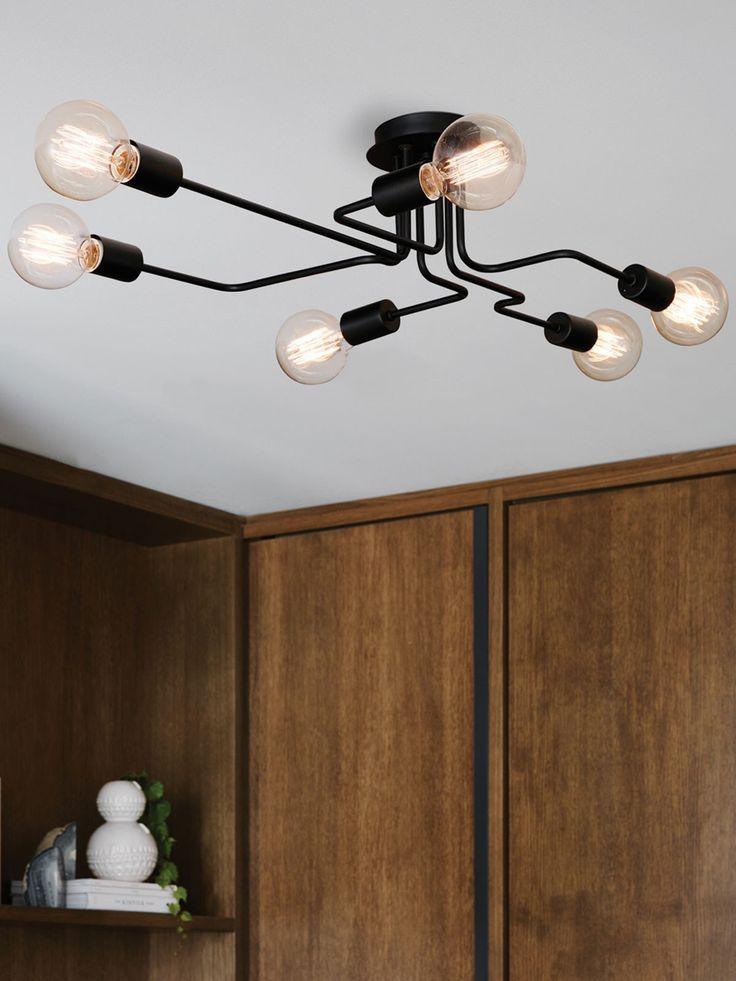 Pac 6 Light Pendant in Black - Love this unique, asymmetrical design.