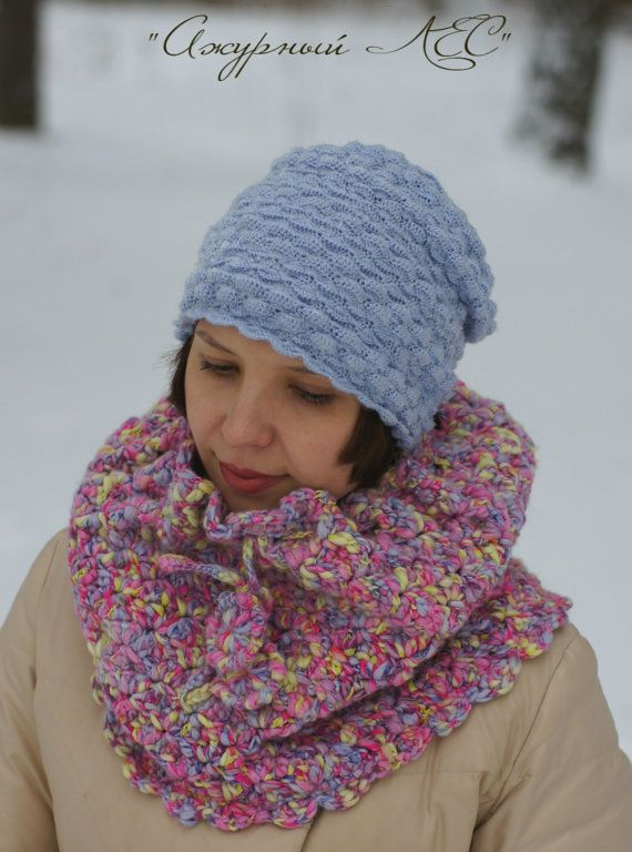 Gray crochet hat and scarf for woman long  gray scarf lace