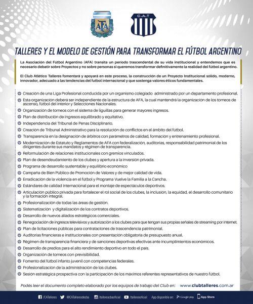 Talleres y el modelo de gestión para transformar el fútbol...  Talleres y el modelo de gestión para transformar el fútbol argentino  El Club Atlético Talleres reitera su posición ya expresada públicamente de avanzar hacia un modelo de gestión con un Proyecto Institucional transparente sólido modernoinnovador adecuado a las tendencias del fútbol internacional sostenido en valores éticos fundamentales. Un modelo de gestión que promueva un desarrollo sustentable que jerarquice el desarrollo…