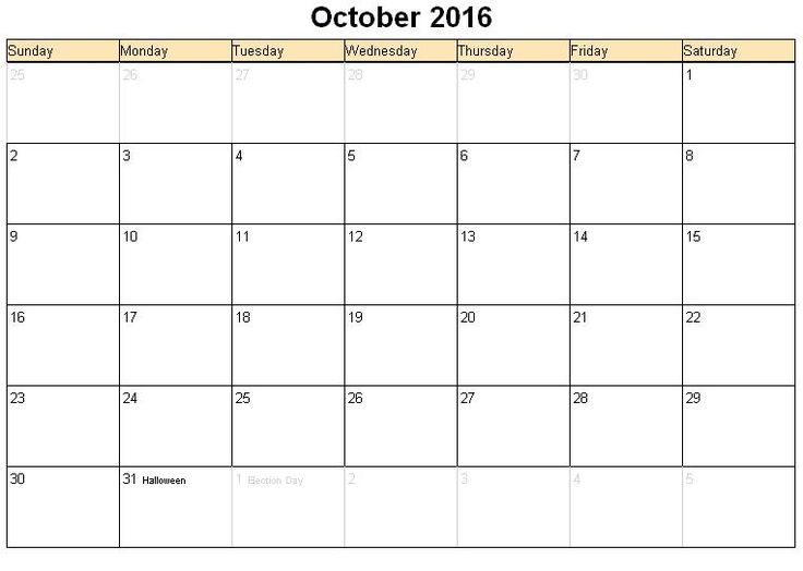 62 best 2016 Oct Calendar images on Pinterest 2016 calendar - free blank calendar