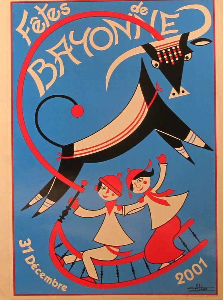 2001 Original French Festival Poster, Fetes De Bayonne - Blue - L'Affichiste…