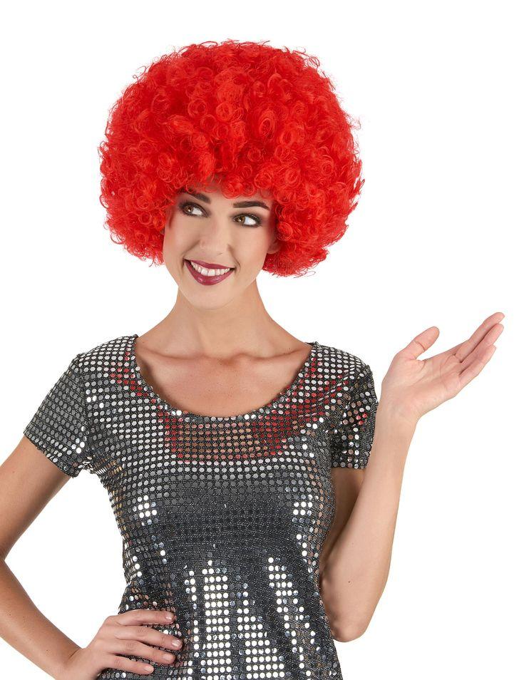 Peluca roja afro disco: Peluca afro de color rojo con mucho volumen. Artículo ideal para completar tu disfraz en fiestas temáticas.