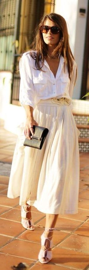 #street #style #casual #outfits #spring #outfit #ideas | White button up + high waist pale blush vaporous skirt