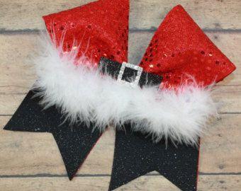 Christmas Santa belt hair bow Santa belt bow by Boutiqueofbeauty