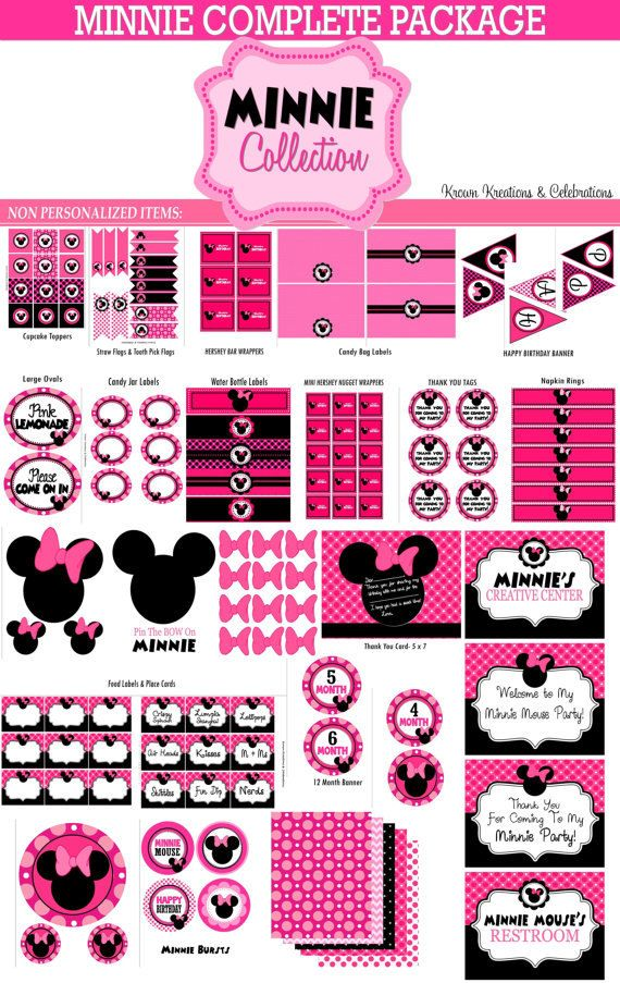 MINNIE MOUSE Party  Party Printables  Pink by KROWNKREATIONS, $19.00