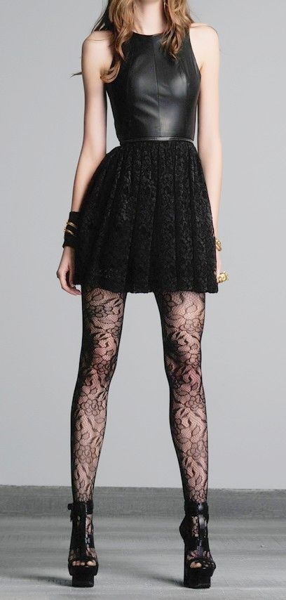 Love this combo! leather + lace