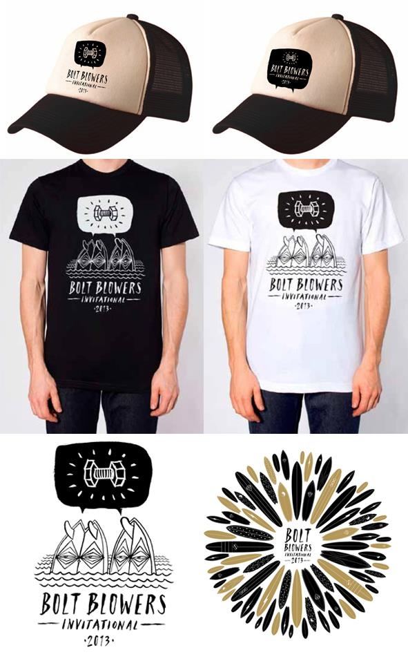 Bolt Blower 2013 caps and tees designed by Darren Henderson. Come on down to The Bolt Blower Invitational, Saturday 23 March 2013, Jan Juc Beach to get yours!   www.facebook.com/BoltBlowersInvitational