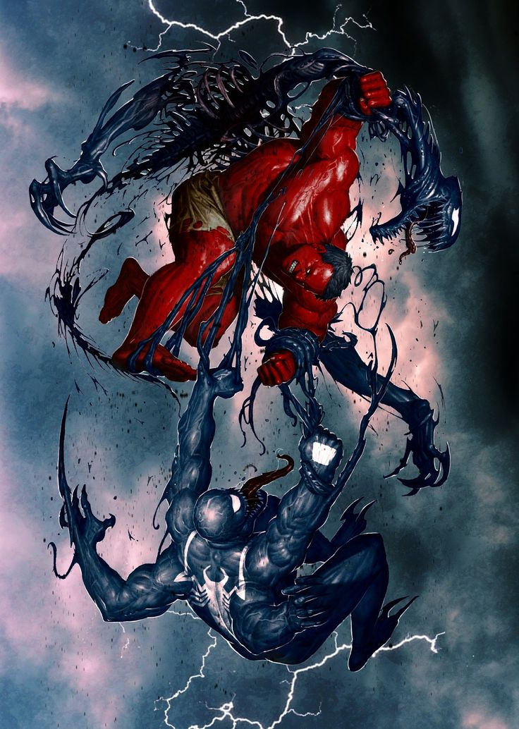 Clash of red hulk and venom