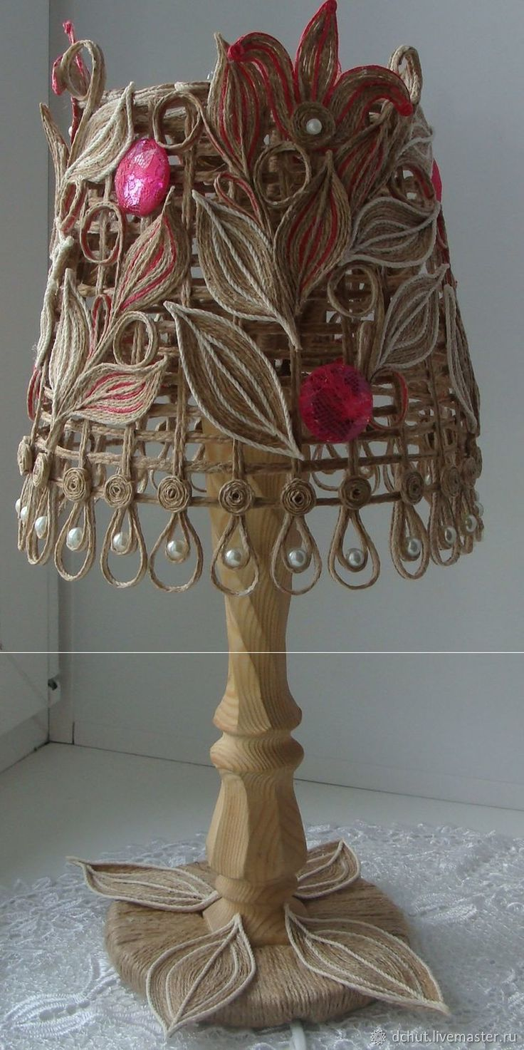 Купить Светильник - белый, комбинированный, джутовая нить, джут, джутовая верёвка, джутовый шпагат
