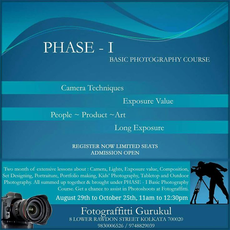 PHASE - I : Basic Photography Course. Two months of intensive course on techniques of picture making. Enrol at the studio. You may connect at 9748829039 or email at gurukul@fotograffitti.com #photography #photographybasics #photographytips #photographylessons
