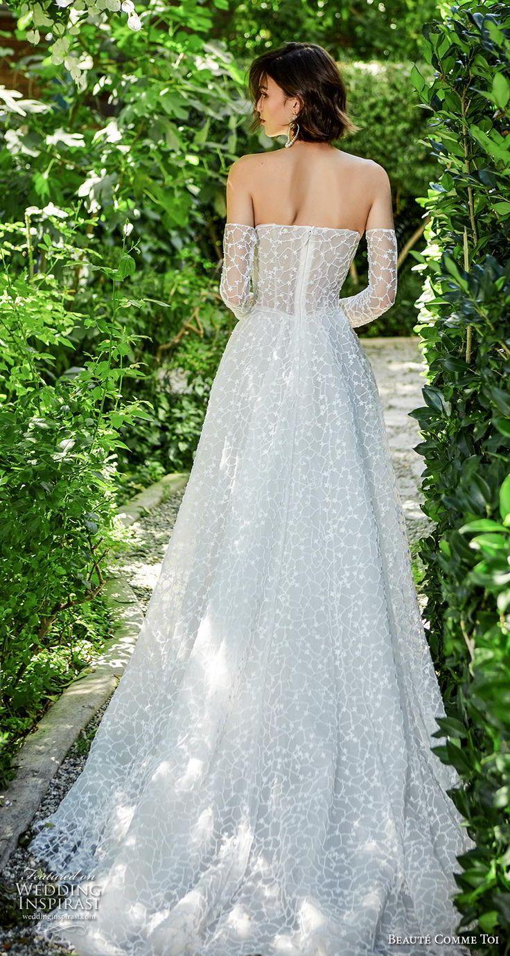 Beaute Comme Toi F2020 Braut von der Schulter langen Ärmeln trägerlos gerade ein …   – Wedding stuff