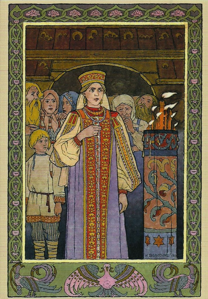 Russian folk costume in the beautiful illustrations of Ivan Bilibin